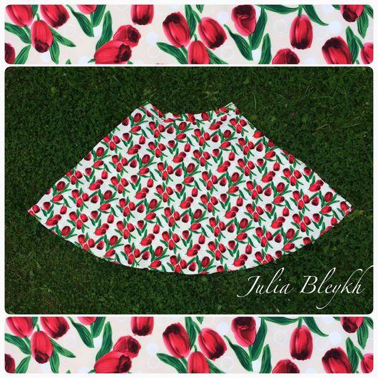 """Юбки ручной работы. Ярмарка Мастеров - ручная работа. Купить Юбка """"Красные тюльпаны"""". Handmade. Юбка, юбка со складками"""