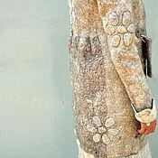 """Одежда ручной работы. Ярмарка Мастеров - ручная работа Пальто бохо из войлока """"Снежные ромашки"""". Handmade."""