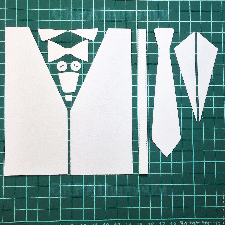 Открытка рубашка с галстуком аппликация