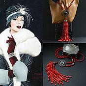 Украшения handmade. Livemaster - original item Necklace tassel, Sotuar Red Corals CORIN RAIN handmade. Handmade.
