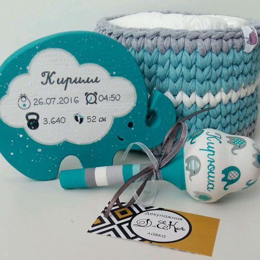 """Подарки для новорожденных, ручной работы. Ярмарка Мастеров - ручная работа. Купить Набор для малыша - погремушка и интерьерная игрушка """"Слоник"""". Handmade."""