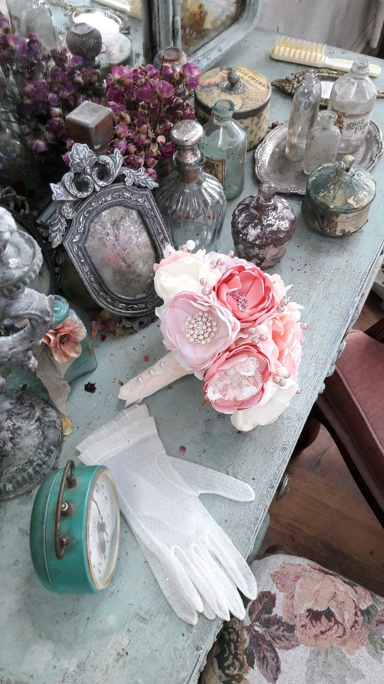 Wedding Brooch Bouquet With Vintage Lace Shabby Chic Bouquet Shop
