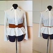 Одежда handmade. Livemaster - original item Blouse 42, 44, 46, 48, 50 classic white cotton. Handmade.