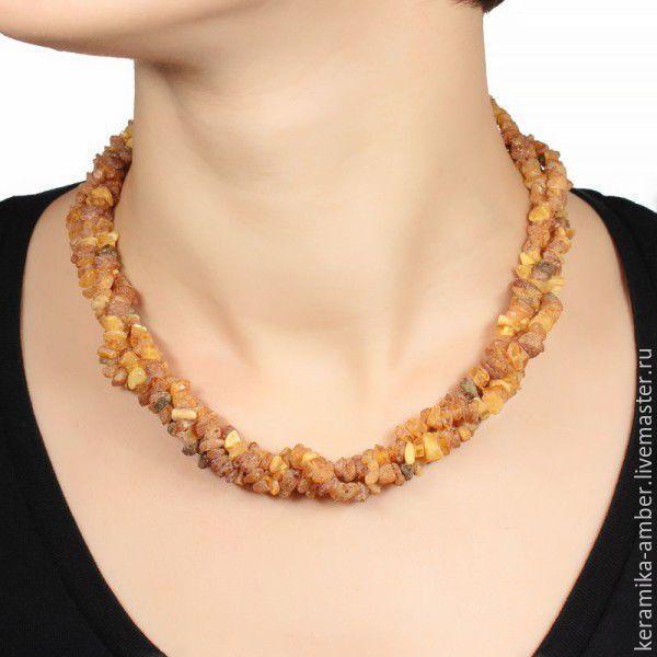 Beads amber Trio treatment natural stones, raw amber, Necklace, Kaliningrad,  Фото №1