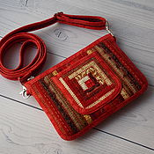 Сумки и аксессуары handmade. Livemaster - original item Small patchwork bag, For phone, For walking, Red, Ethno. Handmade.