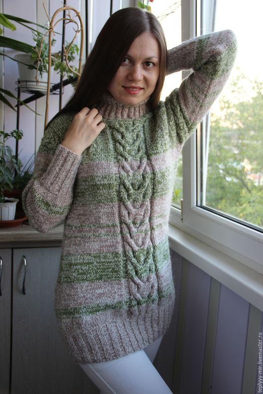 Кофты и свитера ручной работы. Ярмарка Мастеров - ручная работа. Купить Теплый свитер-туника. Handmade. Молочный цвет