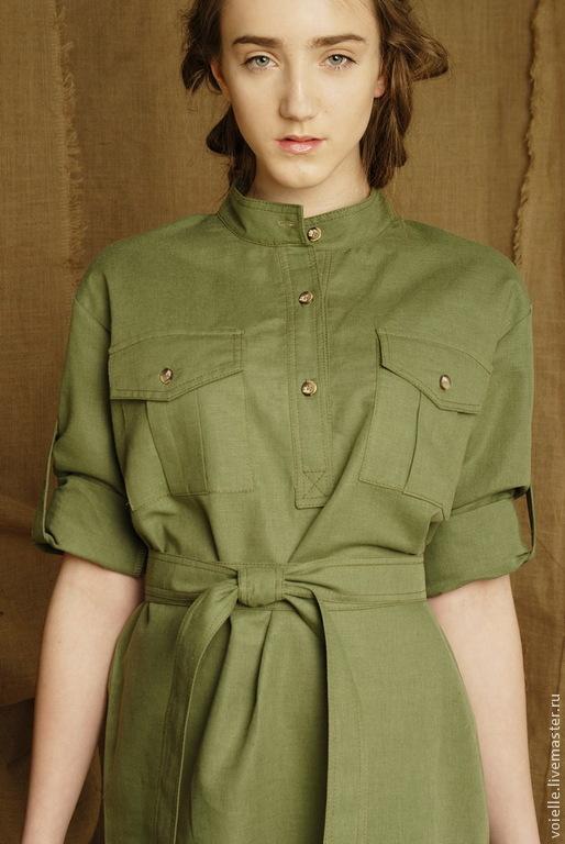 eae25d893431098 ... Платье-рубашка зеленое в стиле милитари, платье льняное летнее, на  каждый день длиной