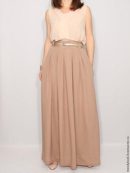 Юбки ручной работы. Ярмарка Мастеров - ручная работа. Купить Светло-коричневая юбка, шифоновая юбка, длинная юбка с карманами. Handmade.