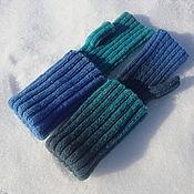 Аксессуары handmade. Livemaster - original item mitts aqua. Handmade.