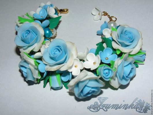 Браслеты ручной работы. Ярмарка Мастеров - ручная работа. Купить Браслет с бело-голубыми розами. Handmade. Голубой, купить браслет
