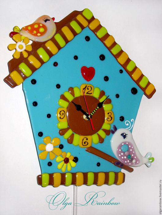 """Часы для дома ручной работы. Ярмарка Мастеров - ручная работа. Купить Часы фьюзинг с маятником """"Веселый скворечник"""". Handmade. Бирюзовый"""