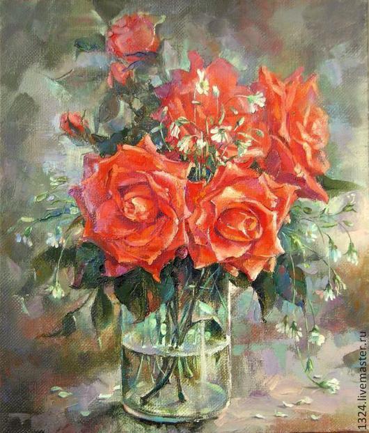 """Картины цветов ручной работы. Ярмарка Мастеров - ручная работа. Купить """"Аленькие цветочки"""" холст,масло. Handmade. Ярко-красный"""