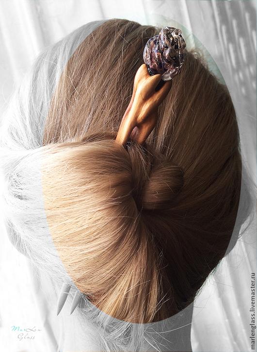 Заколки ручной работы. Ярмарка Мастеров - ручная работа. Купить Шпилька для волос Вечерняя. Handmade. Заколка для волос, бутоны, черный