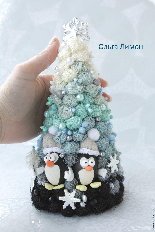"""Купить Елка """"Пингви"""" - голубой, омбре, Новый Год, елка ..."""