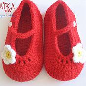 Работы для детей, ручной работы. Ярмарка Мастеров - ручная работа Пинетки - туфельки для девочки. Handmade.