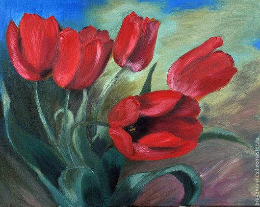 """Картины цветов ручной работы. Ярмарка Мастеров - ручная работа. Купить Картина маслом """"Красные тюльпаны"""". Handmade. Ярко-красный"""