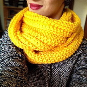 Аксессуары handmade. Livemaster - original item Yellow knitted Snood