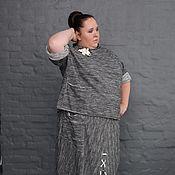 Одежда handmade. Livemaster - original item Skirt grey cotton melange footer with lacing. Handmade.