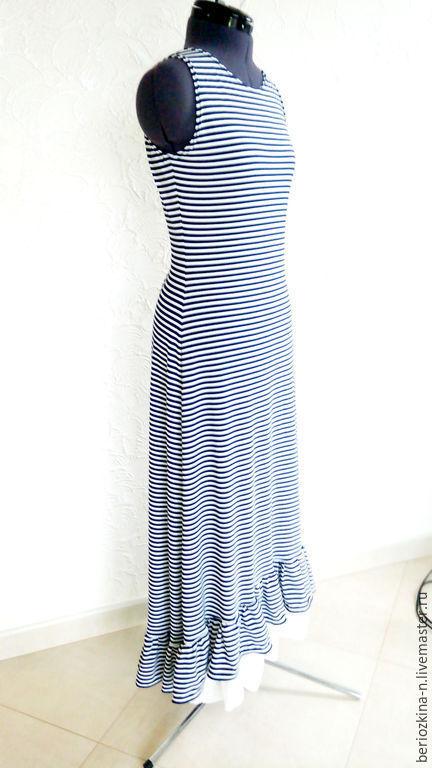 Платья ручной работы. Ярмарка Мастеров - ручная работа. Купить Платье Майка-Бохо. Handmade. Белый, сине-белая полоска