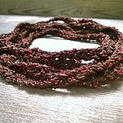Украшения handmade. Livemaster - original item Beads Scarf Lariat Braided Knitted Choker Belt Bracelet Brown. Handmade.
