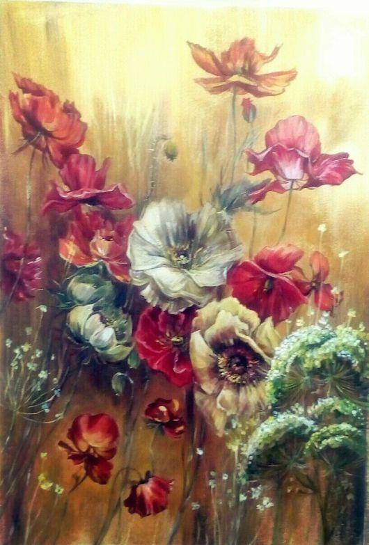 Картины цветов ручной работы. Ярмарка Мастеров - ручная работа. Купить Цветы. Маки.(Работа продана). Handmade. Живопись