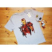 Одежда handmade. Livemaster - original item T-shirt with hand-painted Iron man. Handmade.