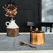 Посуда handmade. Livemaster - original item Wooden cedar sugar bowl with spoon for honey, salt, spices K56. Handmade.