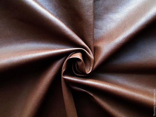 Тонкая натуральная кожа. Коричневая. Шкурка 47 кв.дм, толщина 0,3 мм. Елена (7businka).