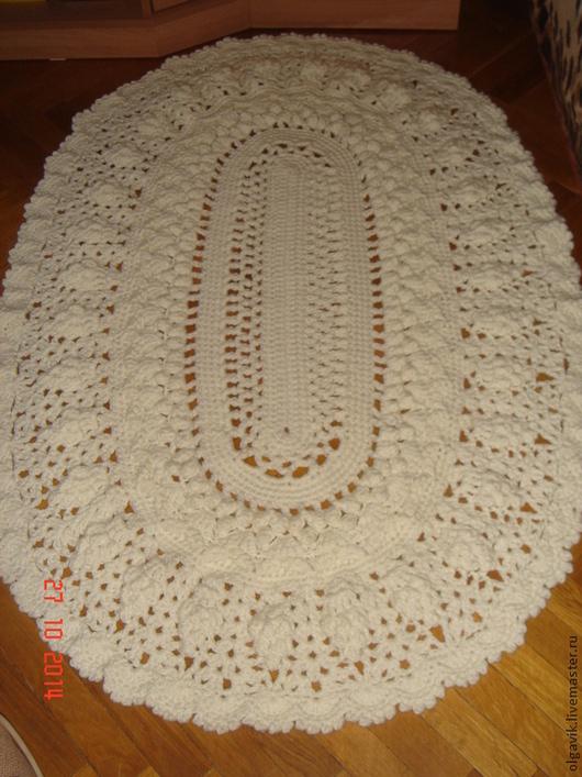Текстиль, ковры ручной работы. Ярмарка Мастеров - ручная работа. Купить Овальный вязаный ковер. Handmade. Белый, коврик, для детской