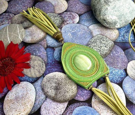 """Кулоны, подвески ручной работы. Ярмарка Мастеров - ручная работа. Купить Кулон """"Гармония"""" с ониксом. Handmade. Зеленый, зеленое украшение"""