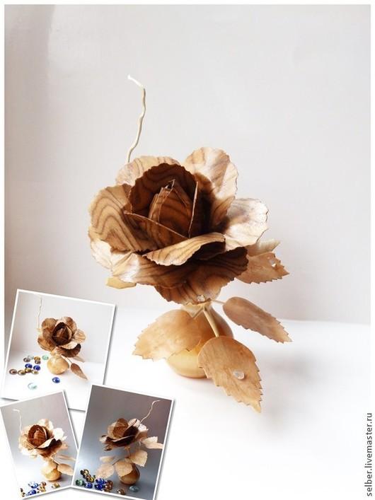 Статуэтки ручной работы. Ярмарка Мастеров - ручная работа. Купить Роза из дерева с хрустальными каплями. Handmade. Роза из дерева, дерево