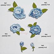 Материалы для творчества handmade. Livemaster - original item Embroidery applique Blue rose decorative element termopatch. Handmade.