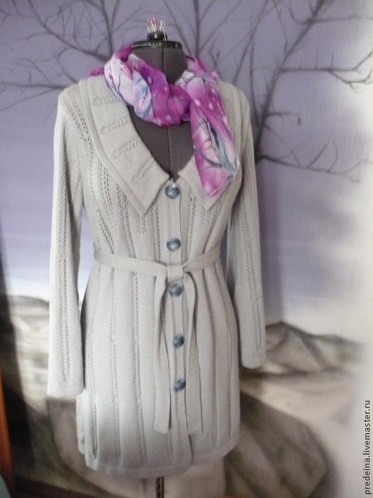 Верхняя одежда ручной работы. Ярмарка Мастеров - ручная работа. Купить пальто ажурное на осень.. Handmade. Серый, пальто на машине