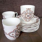 """Посуда ручной работы. Ярмарка Мастеров - ручная работа Чайная пара фарфоровая с росписью """"Любимая чашка"""". Handmade."""