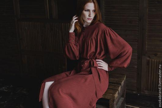 Платья ручной работы. Ярмарка Мастеров - ручная работа. Купить Платье с кокеткой (кирпичный) -. Handmade. Рыжий, нарядное платье