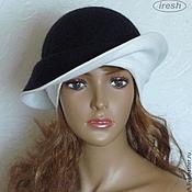 "Аксессуары ручной работы. Ярмарка Мастеров - ручная работа Валяная шляпка ""Чёрно-белая"" женская тёплая. Handmade."