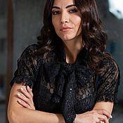 Одежда handmade. Livemaster - original item Copy work Black blouse with lace and mesh bow. Handmade.