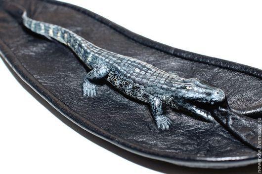 """Галстуки, бабочки ручной работы. Ярмарка Мастеров - ручная работа. Купить 3D Галстук женский из натуральной кожи """"Крокодил"""". Handmade."""