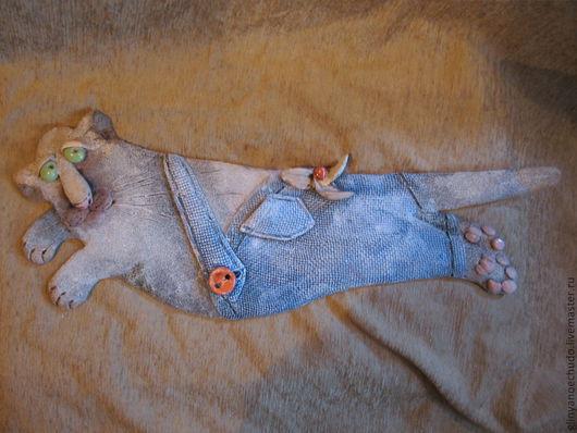 """Детская ручной работы. Ярмарка Мастеров - ручная работа. Купить Кот """"Карлосон"""". Handmade. Кот, глина, панно"""