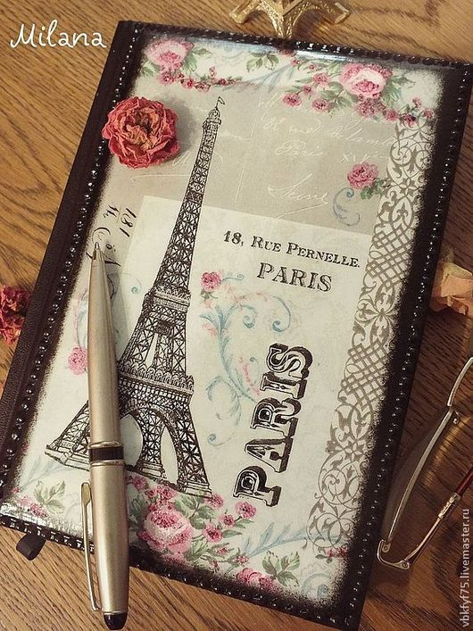ежедневник декупаж, подарок любителю Франции, ежедневник в подарок, ежедневник на новый год, ежедневник париж