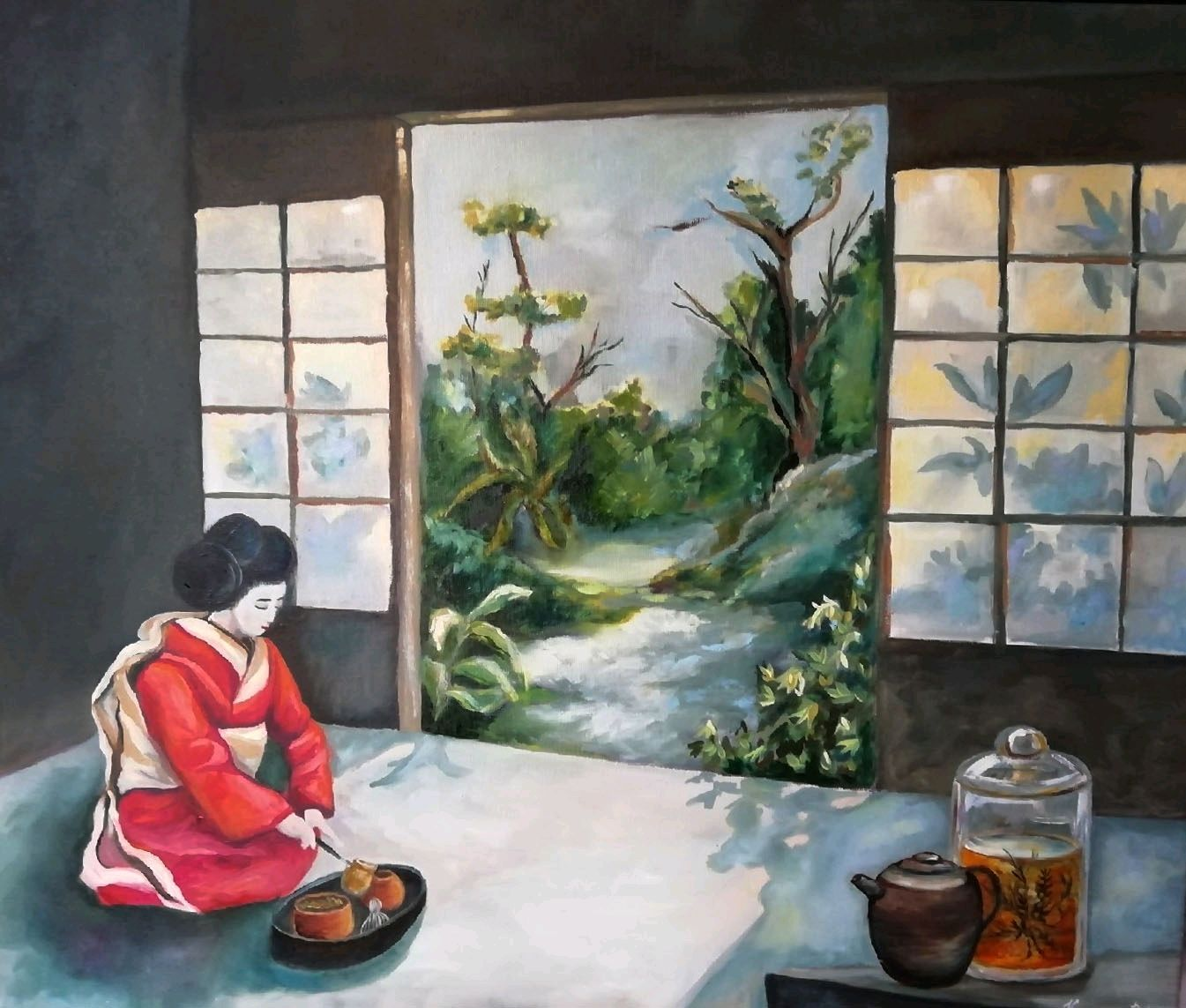 Tea time oil Painting Japan tea ceremony, Pictures, Moscow, Фото №1
