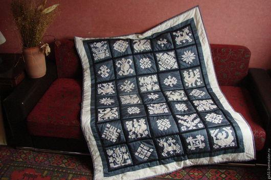 Текстиль, ковры ручной работы. Ярмарка Мастеров - ручная работа. Купить Лоскутное покрывало - панно Народные мотивы Пэчворк. Handmade.