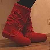 """Обувь ручной работы. Ярмарка Мастеров - ручная работа Валенки """"Красная горошина"""". Handmade."""