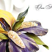 Украшения handmade. Livemaster - original item His Majesty iris leather Luneville embroidery Yellow purple. Handmade.
