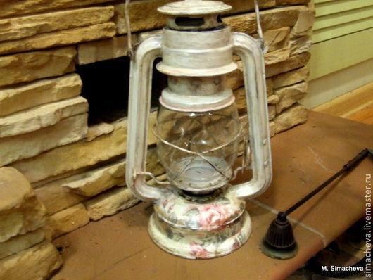 Освещение ручной работы. Ярмарка Мастеров - ручная работа. Купить Лампа Старинные розы. Handmade. Керосиновая лампа, состаривание, лампа
