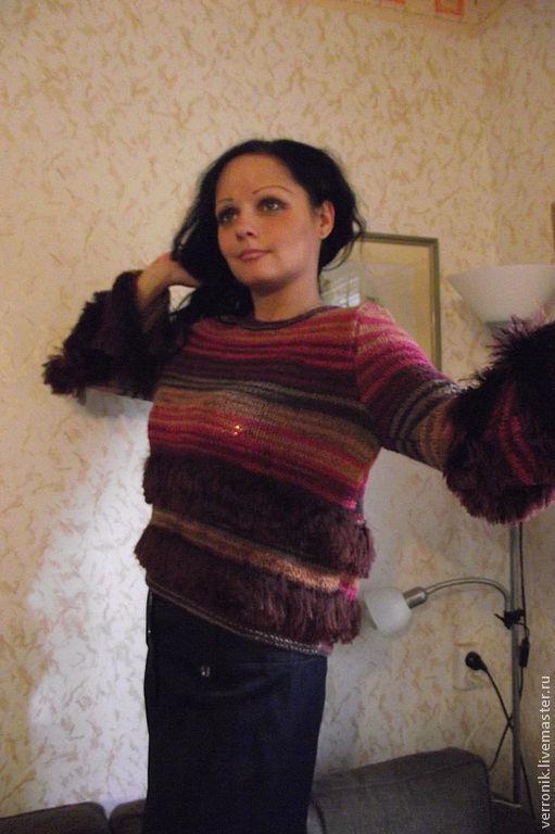 Кофты и свитера ручной работы.  Ярмарка мастеров- ручная работа.  Пуловер. Пуловер вязаный `Гроздья рябины`. Пуловер вязаный `Гроздья рябины` купить.  Бордовый. Handmade. Магазин мастера Доминика.