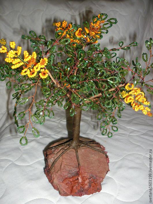 Искусственные растения ручной работы. Ярмарка Мастеров - ручная работа. Купить Декоративные деревья. Handmade. Зеленый, на камне, бонсай из бисера