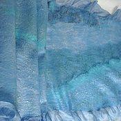 """Аксессуары ручной работы. Ярмарка Мастеров - ручная работа Палантин на шелке """" Голубые переливы"""". Handmade."""