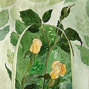 Картины и панно ручной работы. Ярмарка Мастеров - ручная работа Картина Нежные розы акварельная живопись в стиле модерн. Handmade.