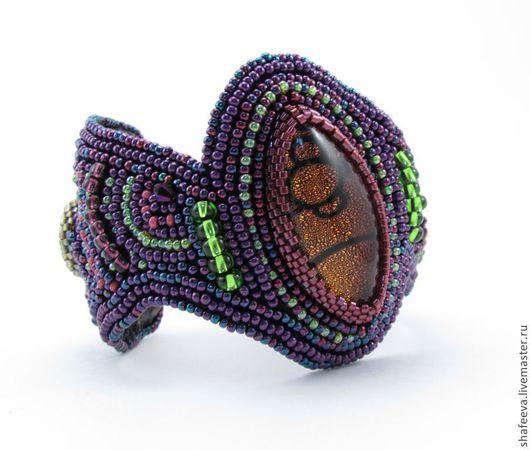 Браслеты ручной работы. Ярмарка Мастеров - ручная работа. Купить Браслет Пурпурная Ива. Handmade. Фиолетовый, Вышивка бисером, роскошный